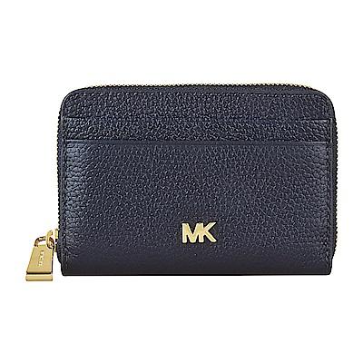 MK MICHAEL KORS MERCER金字LOGO牛皮拉鍊卡片零錢包(海軍藍)