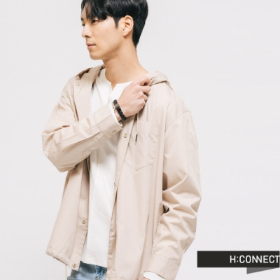 H:CONNECT 韓國品牌 男裝 -抽繩造型連帽外套-卡其