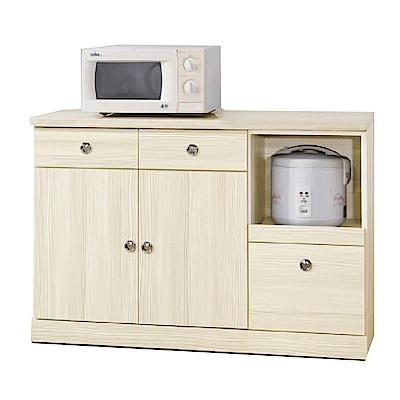 綠活居 波達時尚4尺仿石面木紋餐櫃/收納櫃-121x43x82cm-免組