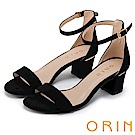 ORIN 經典時尚 一字繫踝繞帶後包粗跟涼鞋-黑色