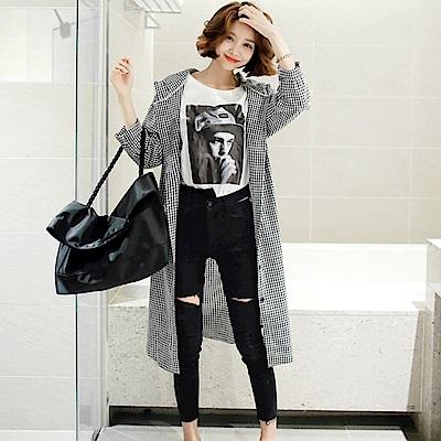 La Belleza連帽開釦格子附綁繩排釦長版襯衫外套