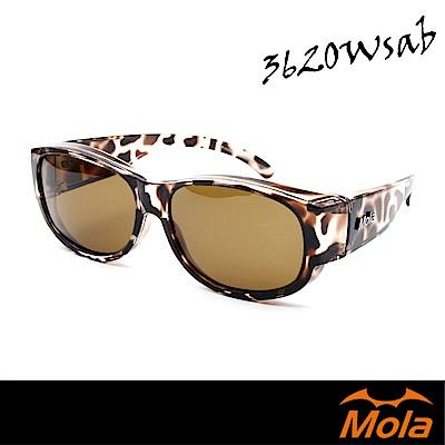 MOLA摩拉外掛式偏光太陽眼鏡  套鏡 男女 UV400 近視可戴 3620Wsab