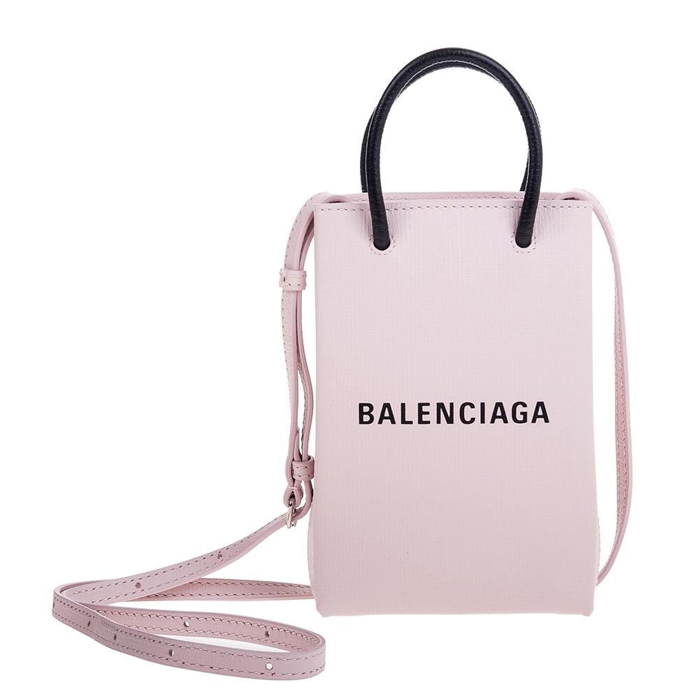 Balenciaga Shopping Phone Holder Bag粉底黑字Logo手提/肩背包