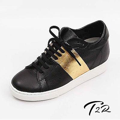 【韓國T2R手工訂製增高鞋】真皮條紋綁帶休閒隱形增高鞋-黑金