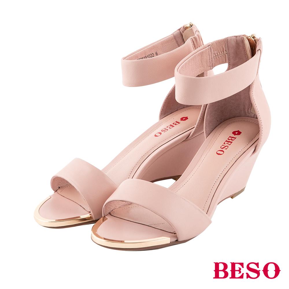 BESO 都會時尚 繞踝楔型涼鞋~粉