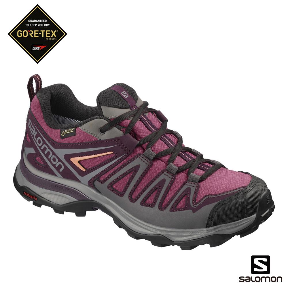 Salomon GORETEX低筒登山鞋 女 X ULTRA 3 PRIME 紫粉
