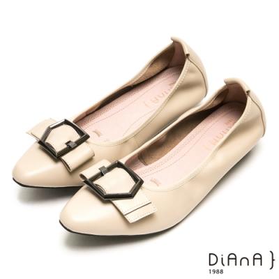 DIANA都會時尚穿孔寬帶尖頭平底鞋-漫步雲端厚切焦糖美人-米白