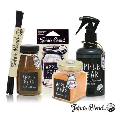 John's Blend 室內香氛擴香膏+擴香瓶+香氛掛片+除臭噴霧(蘋果甜梨-4入組)