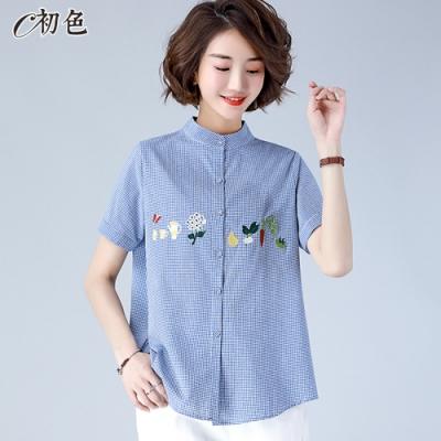 初色  休閒繡花格子襯衫-共3色-(M-2XL可選)