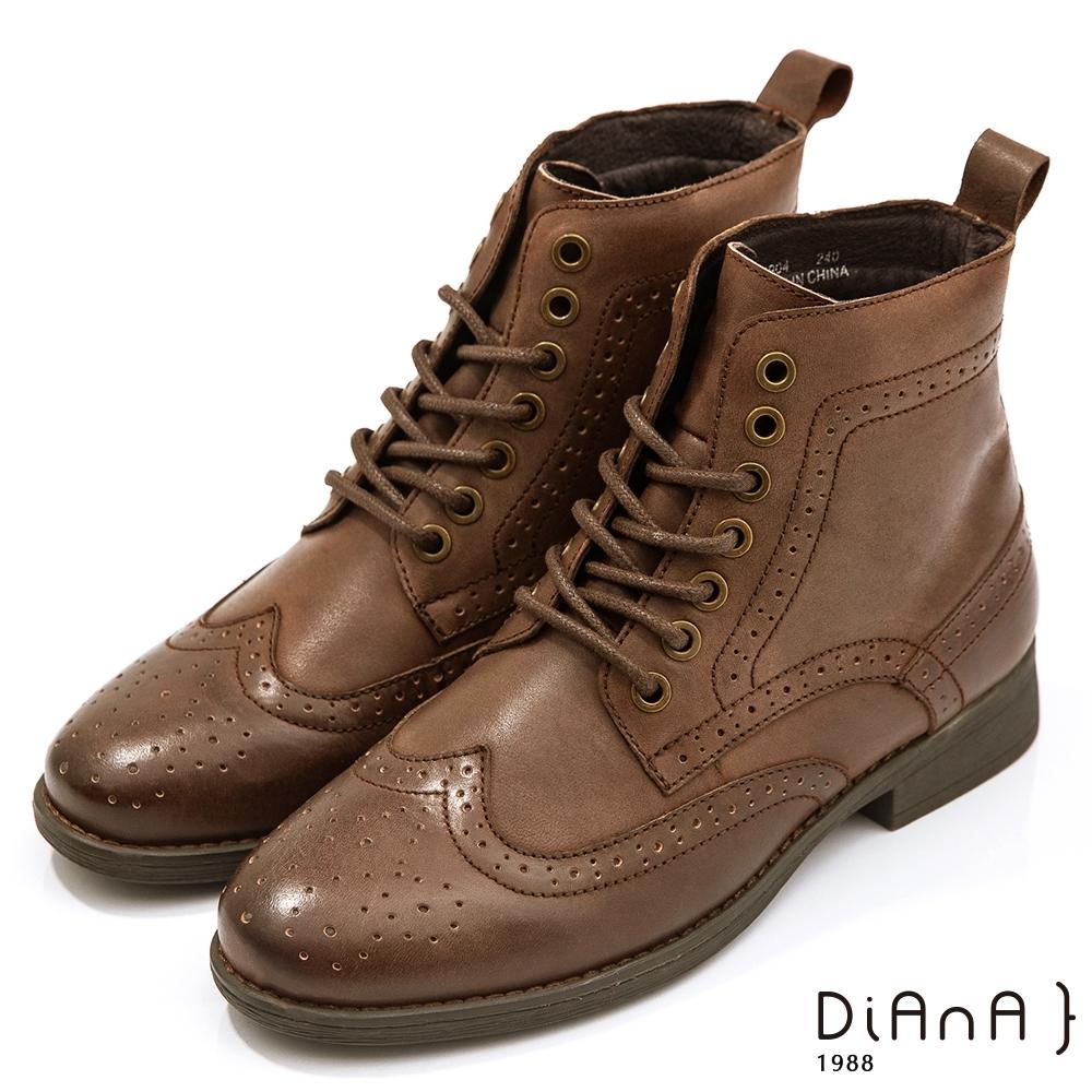 DIANA 3cm質感水染牛皮綁帶牛津雕花中短馬汀靴-率性獨特-咖啡