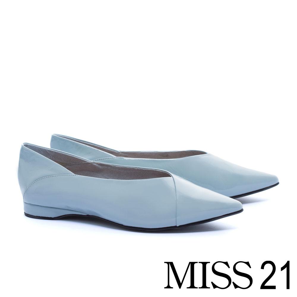 平底鞋 MISS 21 拼接質感全真皮素色平底鞋-藍 @ Y!購物