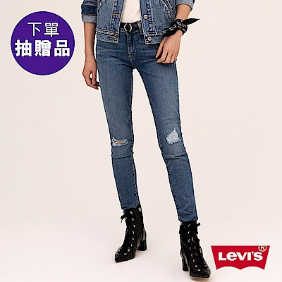 Levis 女款 711 中腰緊身窄管牛仔長褲 亞洲版型 刷破 彈性布料