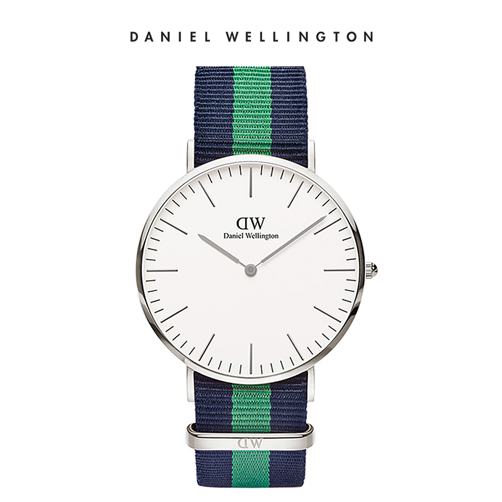 DW 手錶 官方旗艦店 40mm銀框 Classic 經典藍綠織紋錶