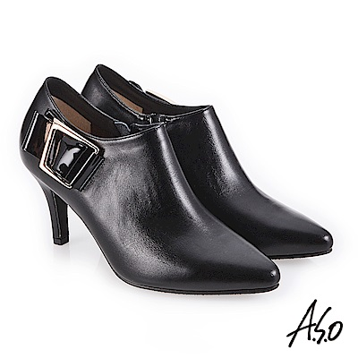 A.S.O 都會時尚 鏡面牛皮微尖楦高跟踝靴 黑