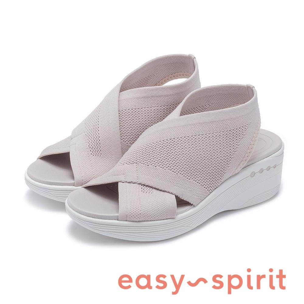 Easy Spirit seBLAST2-A 彈性交叉束帶中跟厚底涼鞋-杏色