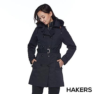 【HAKERS 哈克士】女款 三合一城市防水羽絨外套(黑色)