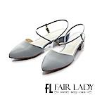 Fair Lady 有一種喜歡是早秋-尖頭設計優雅繫帶粗跟涼鞋 藍