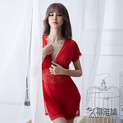 性感睡衣 深V柔紗蕾絲拼接開叉短裙睡衣。紅色 久慕雅黛