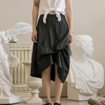 設計所在Style-不規則雙層設計褶皺中長裙(兩色)