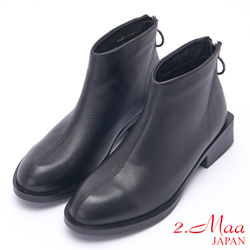 2.Maa 日系設計牛皮後跟圓扣短靴 - 黑