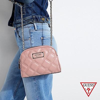 GUESS-女包-壓紋菱格鍊條斜背包-粉