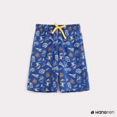 Hang Ten-Charlie Brown-童裝滿版棒球圖樣休閒短褲-藍