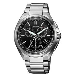 CITIZEN 光動能鈦金屬騎士魅力電波三眼腕錶-銀X黑(CB5040-80E)/41mm