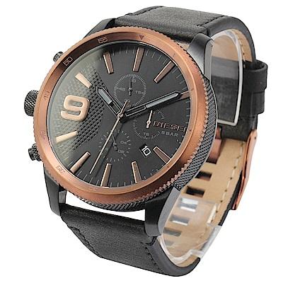 DIESEL Rasp計時碼表黑色錶盤皮革腕錶(DZ4445)50mm