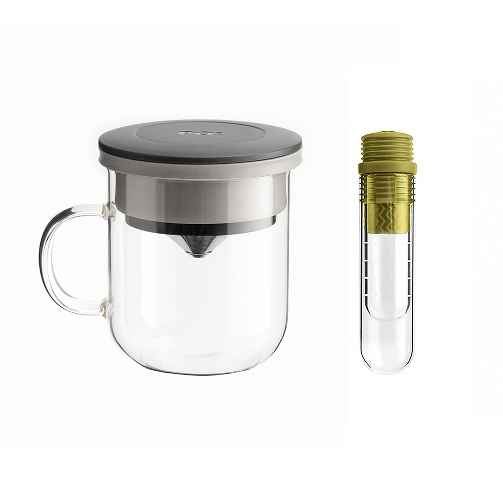 【PO:Selected】丹麥咖啡泡茶兩件組 (咖啡玻璃杯350ml-黑灰/試管茶格-綠)