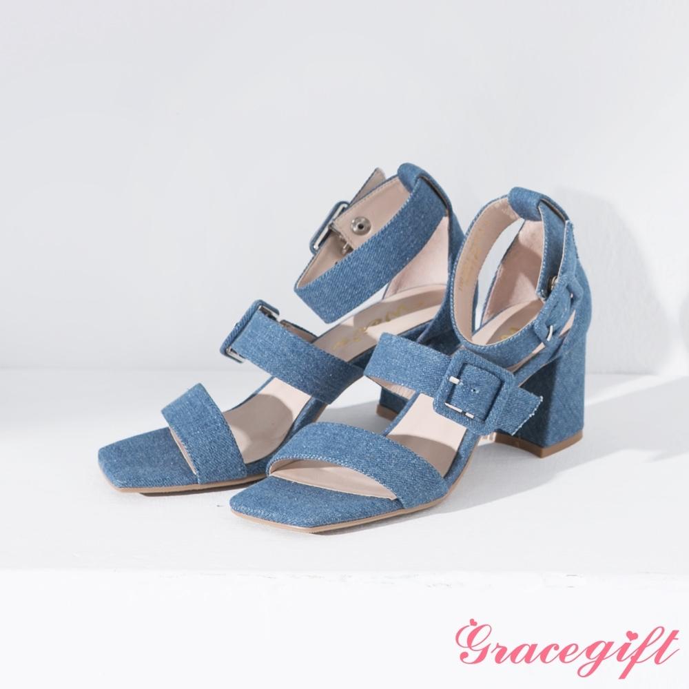 Grace gift X Wei-聯名雙寬帶方釦繞踝粗跟涼鞋 牛仔