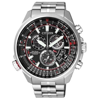 CITIZEN Eco-Drive 密謀間諜鈦金屬電波計時腕錶-黑x銀