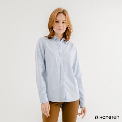 Hang-Ten-女裝-牛津紡長袖襯衫-藍
