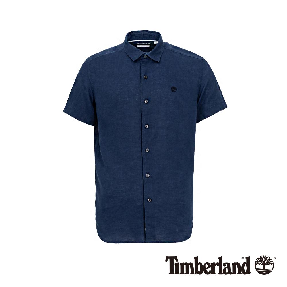 Timberland 男款午夜藍修身亞麻短袖襯衫|A1WTJ