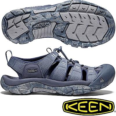 KEEN 1020286灰藍/藍 Newport H2 男戶外護趾涼鞋