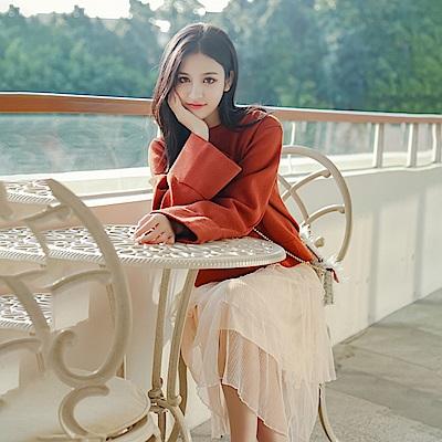 La Belleza素面背心連身裙拼接層次網紗細摺背心裙蛋糕裙