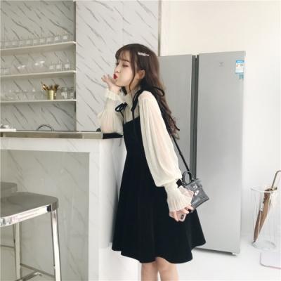 Secret Closet-綁繩細帶公主袖傘擺洋裝