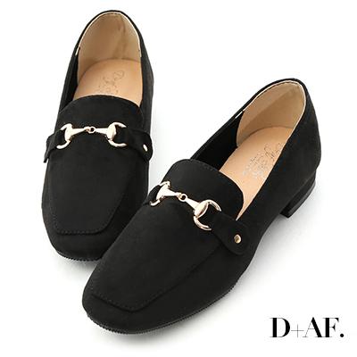 D+AF 時尚典範.質感馬銜釦絨質樂福鞋*黑