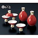 日本橘吉_朱卷七寶酒器組(2壺5杯)