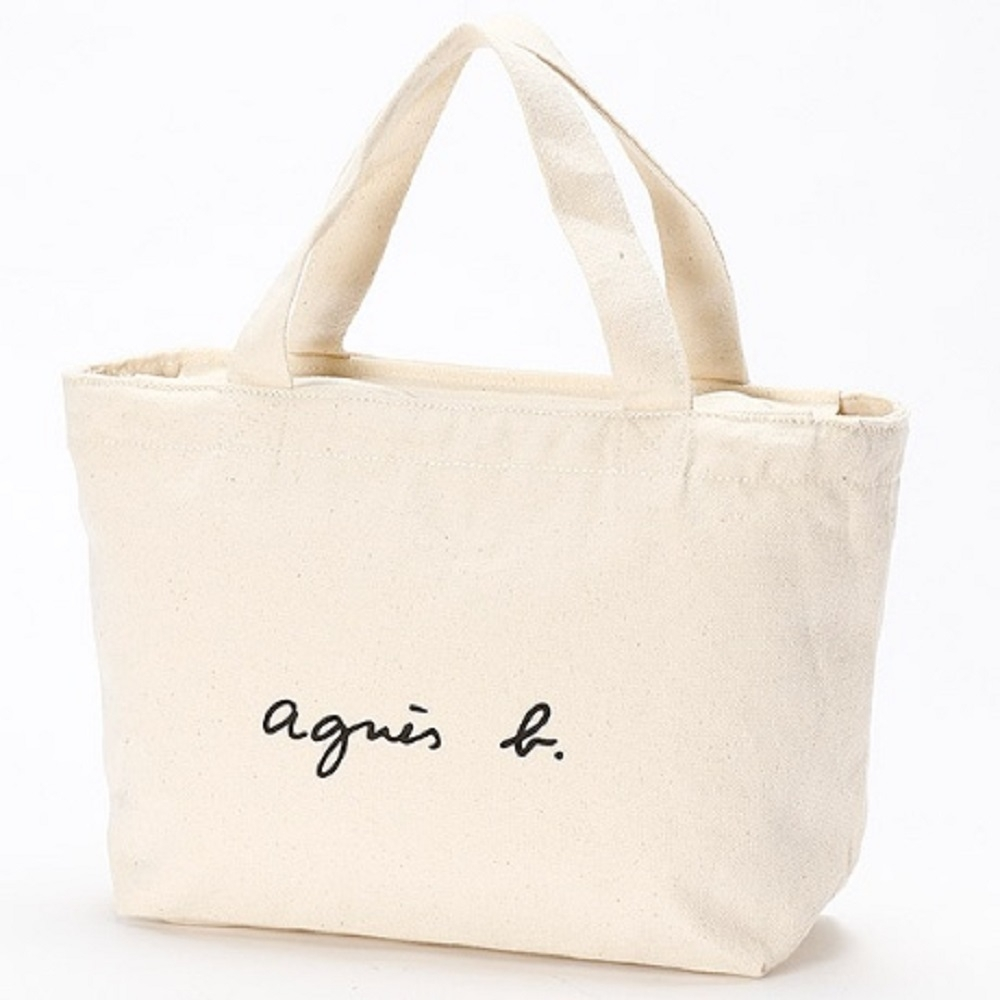 agnes b. Voyage 帆布 logo 小型托特包 (白)