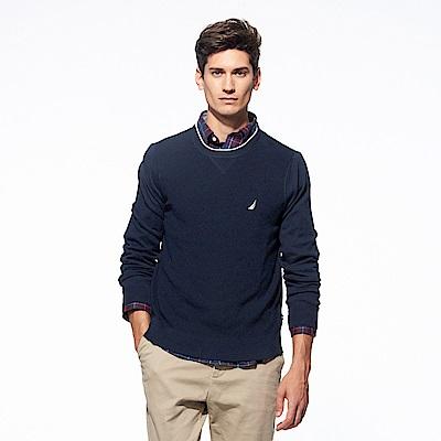 Nautica經典款素色長袖針織衫-藍