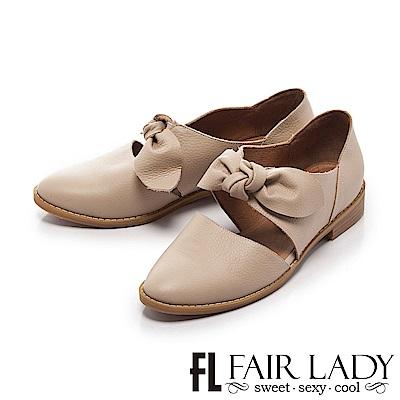 Fair Lady Hi Spring 復古甜美荔紋大扭結微縷空尖頭包鞋 象牙