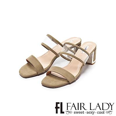 Fair Lady 透明寬帶ㄧ字粗跟涼鞋 芥末