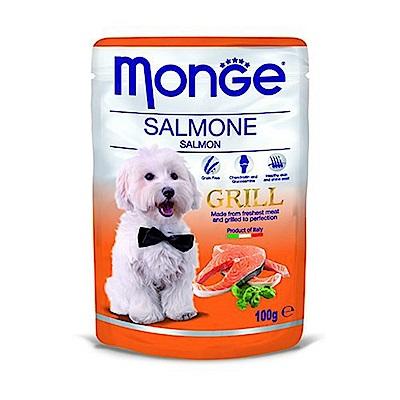 Monge Grill炙燒無穀主食肉塊鮮食包(狗用) 100g - 鮭魚X24包入