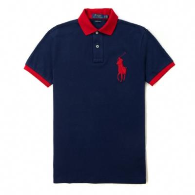 Polo Ralph Lauren 經典電繡大馬立領印刷短袖Polo衫(CustomSlim)-深藍色