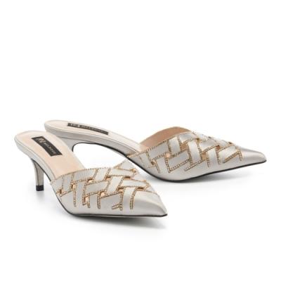 穆勒鞋 MELROSE 奢華時尚鏤空水鑽緞面尖頭穆勒高跟拖鞋-灰