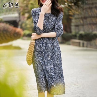 初色  復古碎花雪紡洋裝-藍色-(M-2XL可選)