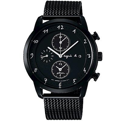 agnes b. 太陽能手繪時三眼米蘭帶腕錶(BY6007P1)-黑/40mm