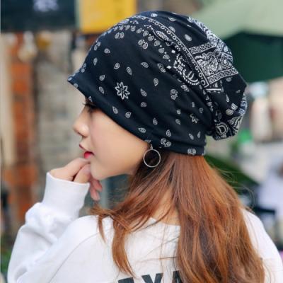 【89 zone】韓版優雅透氣民族風花花薄款套頭防風/頭巾帽(黑)