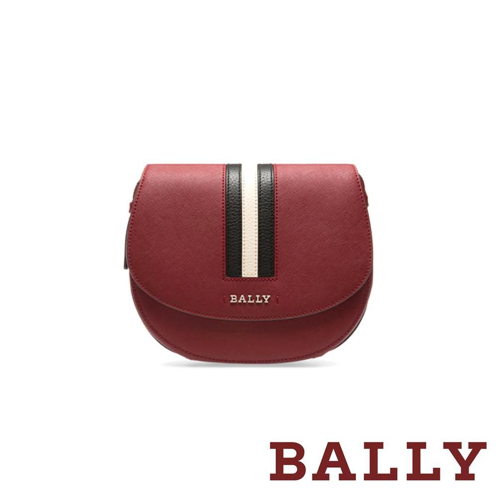 BALLY 經典織帶荔枝牛皮半圓弧斜背包 -酒紅