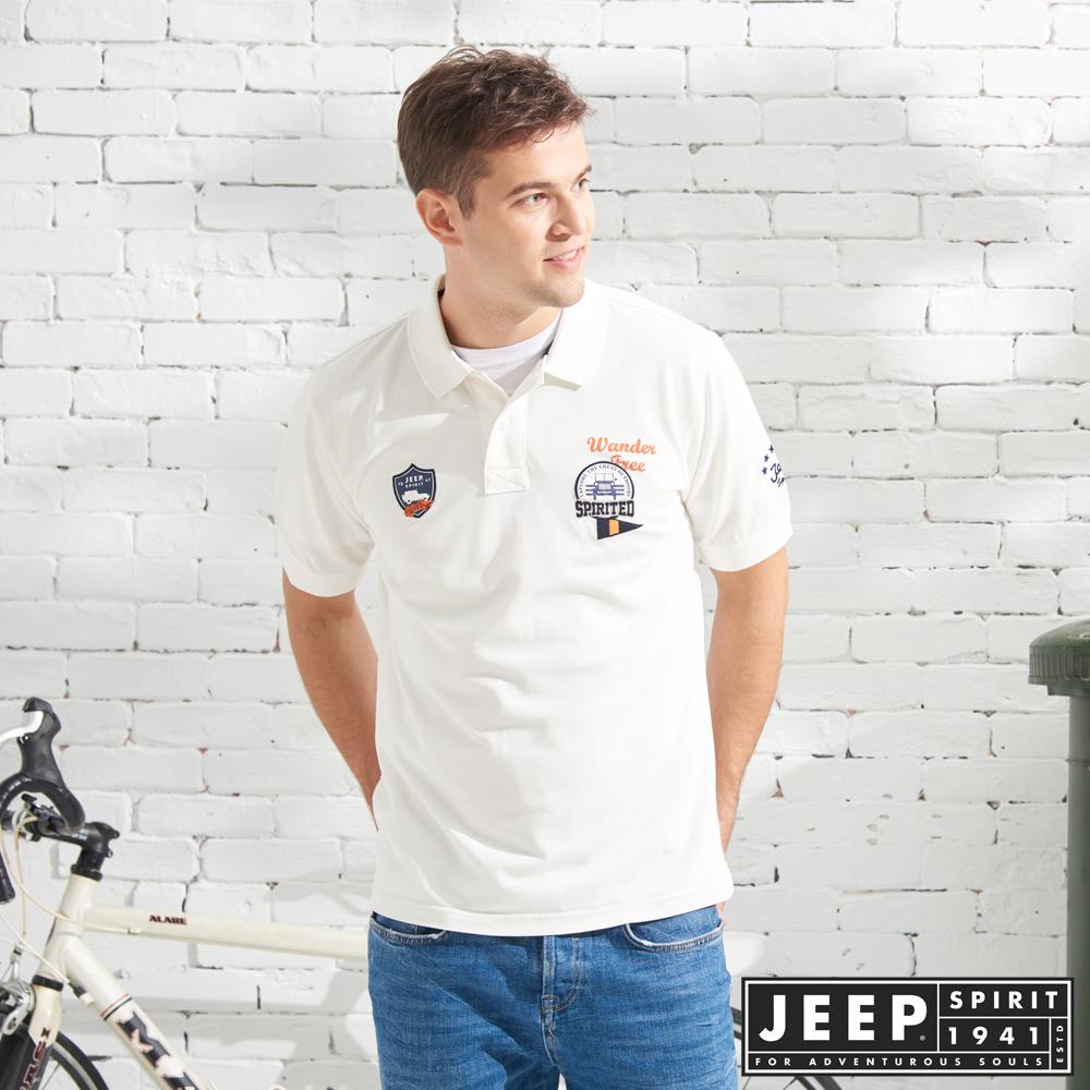 JEEP 美式造型徽章短袖POLO衫-白色